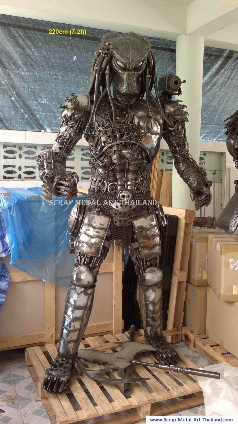 predator figure statue scrap metal art full life size for sale