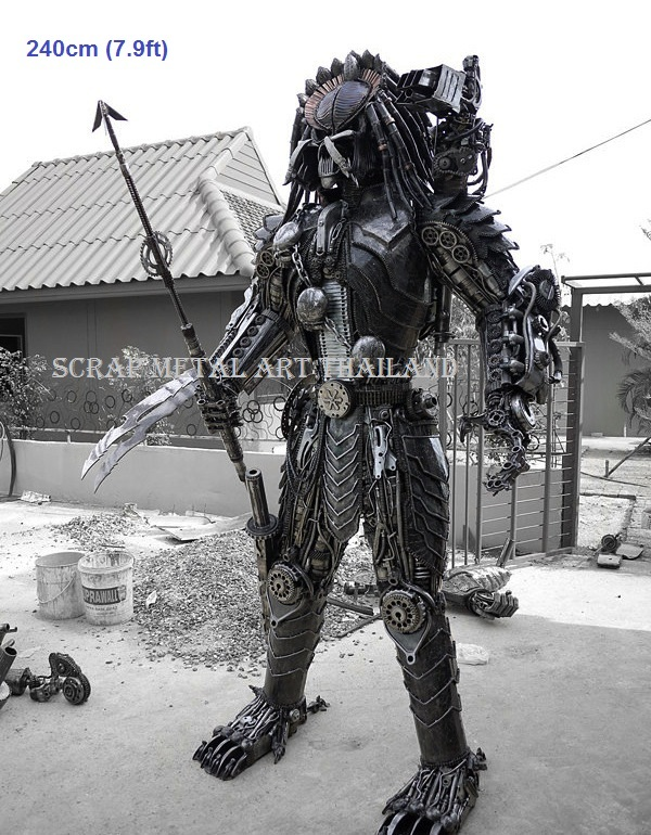 predator figure statue scrap metal art full life sizefor sale