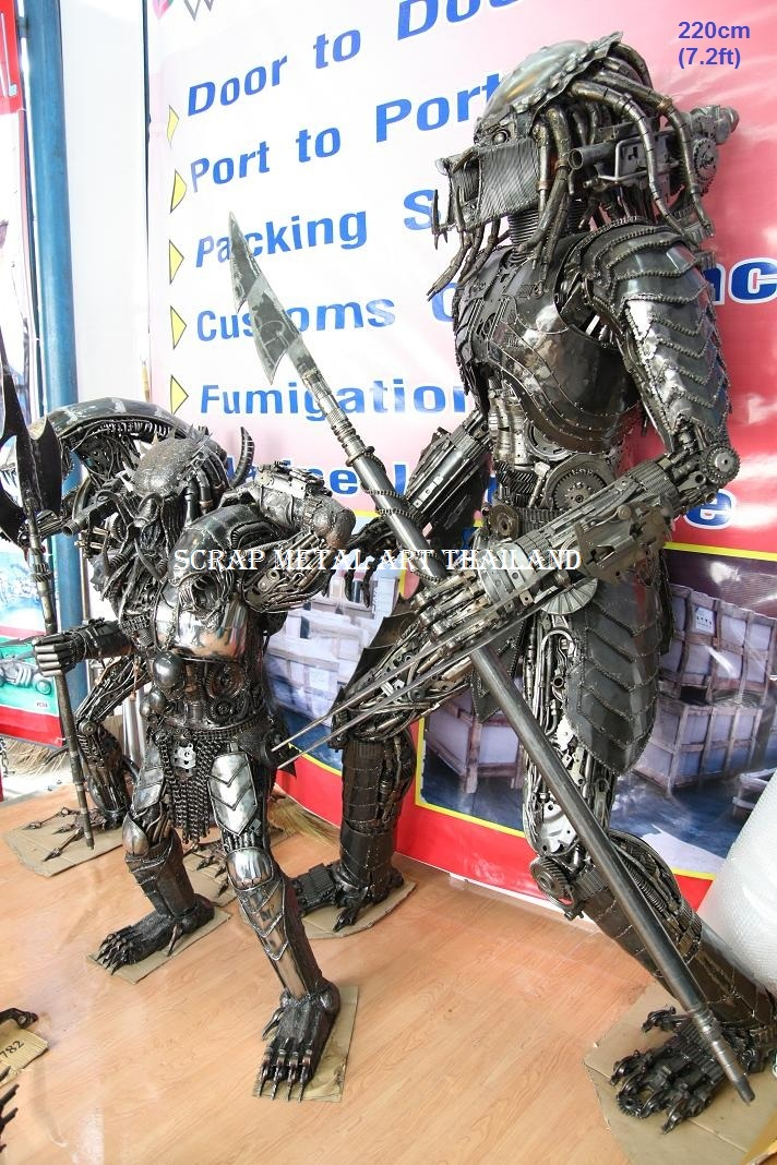 predator figures scrap metal art full life size for sale