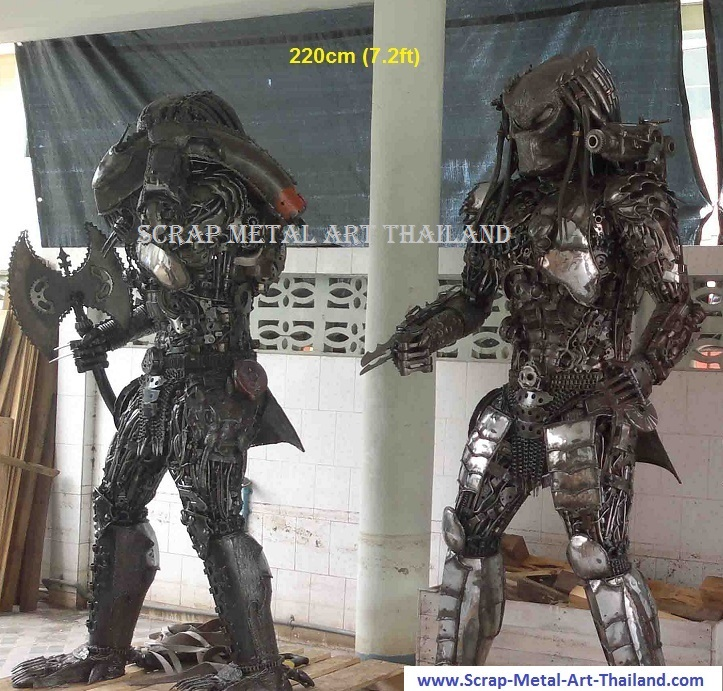 predator figures statue scrap metal art full life size for sale