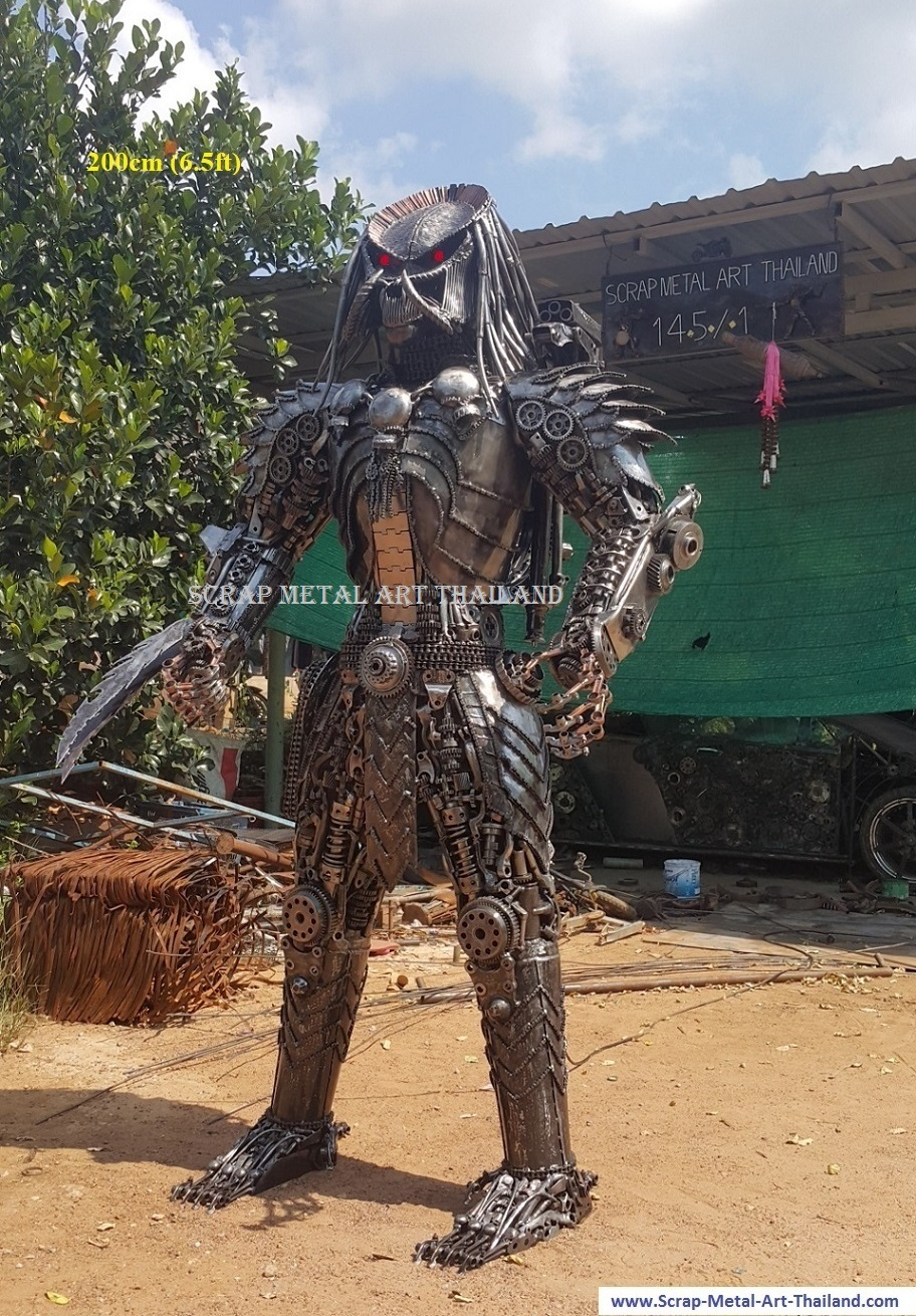 predator statue (with red LED's in the eyes), life size recycled scrap metal art for