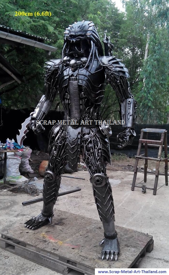 predator statue, life large big size scrap metal art