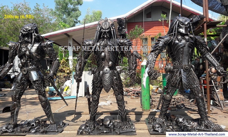 predator statues, life size recycled scrap metal art for