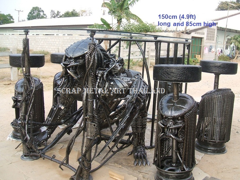 predator table scrap metal art life size for sale