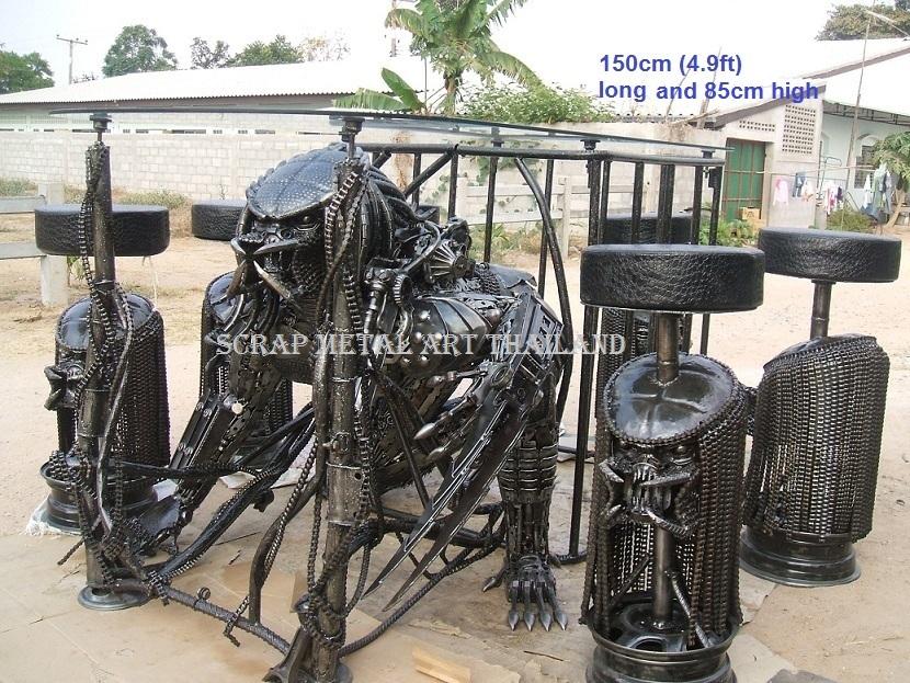 predator table scrap metal art life size for sale