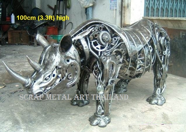 rhino rhinoceros figure statue replica scrap metal art for sale