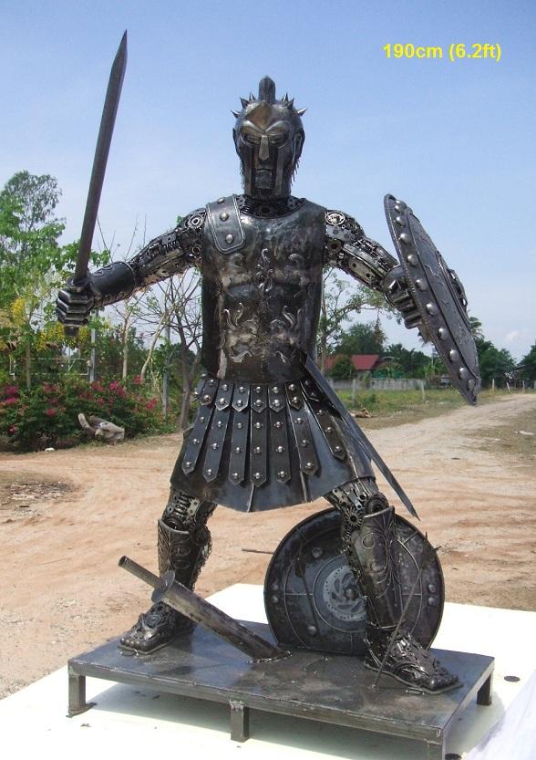 roman soldier statue sculpture scrap metal art life size