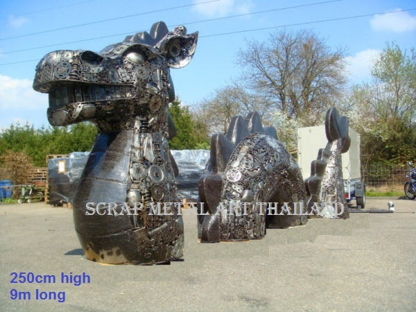 Giant chinese sea dragon statue sculpture figure, scrap metal art
