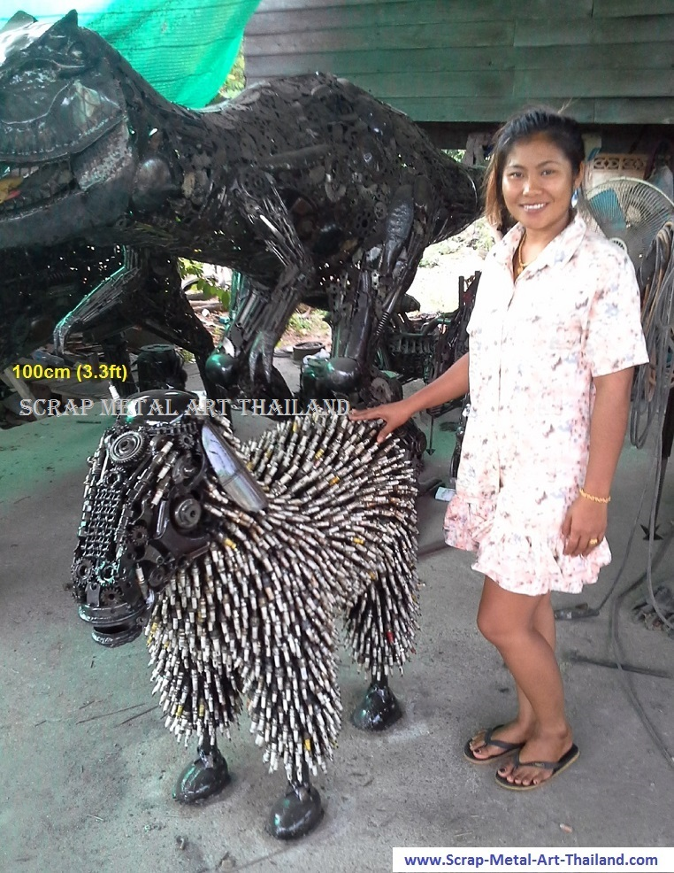 Sheep Statue Sculpture for sale, Life Size Metal Animal Art, from Thailand