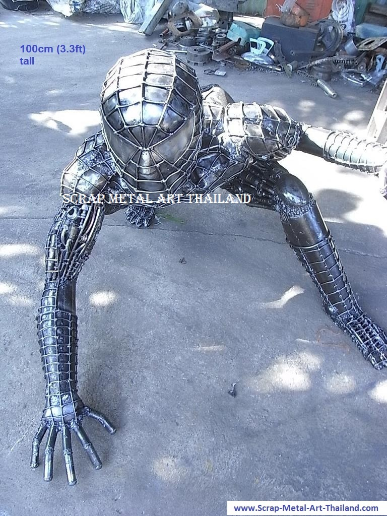 spiderman figure statue full life size scrap metal art for sale 2012