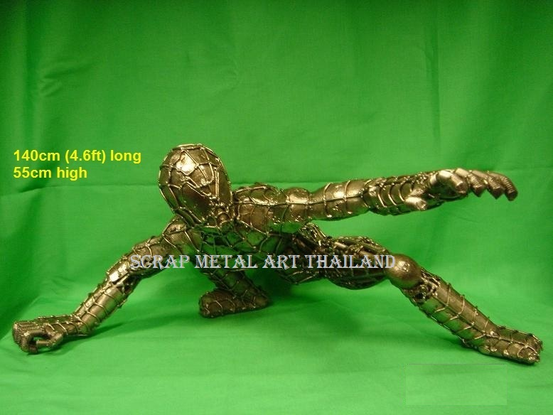 spiderman figure statue full life size scrap metal art for sale