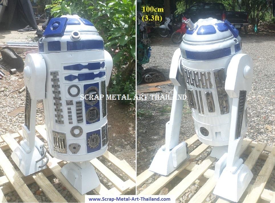 star wars R2D2 statue figure, scrap metal art, full life size for sale
