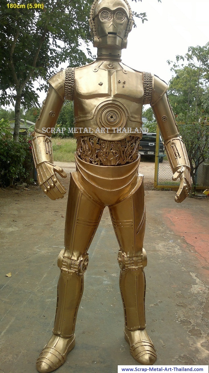 star wars c3po figure statue full life size gold color for sale