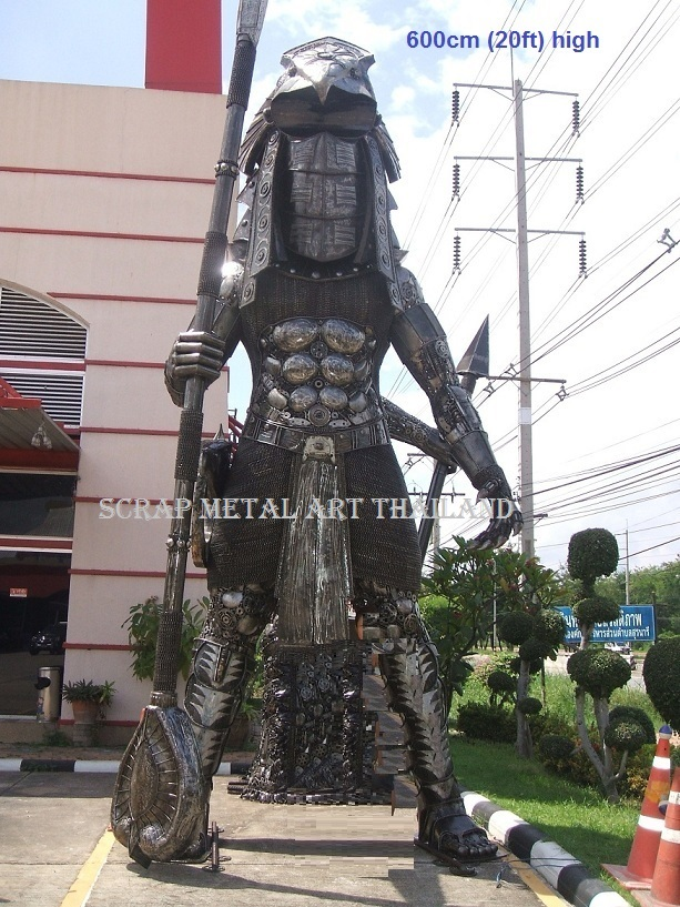 stargate giant warrior statue life size scrap metal art for sale