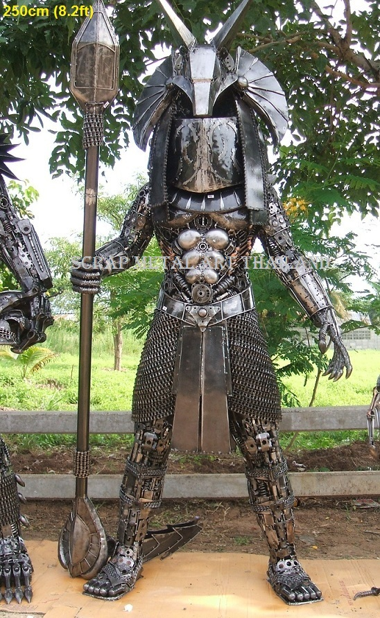 stargate warrior statue life size scrap metal art for sale