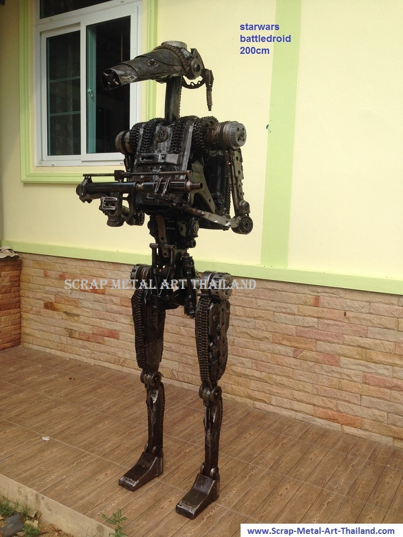 starwars battle droid statue life size scrap metal art