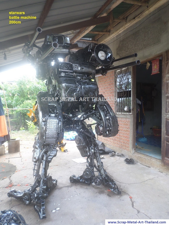 starwars battle machine life size scrap metal art