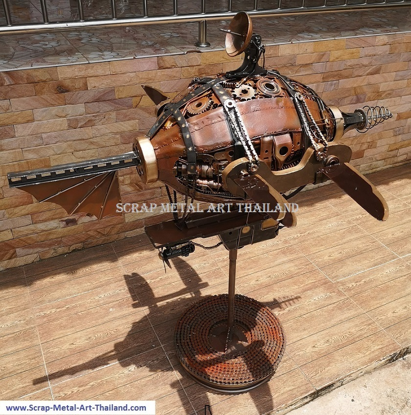 steampunk airship blimp zeppelin, recycled scrap metal art