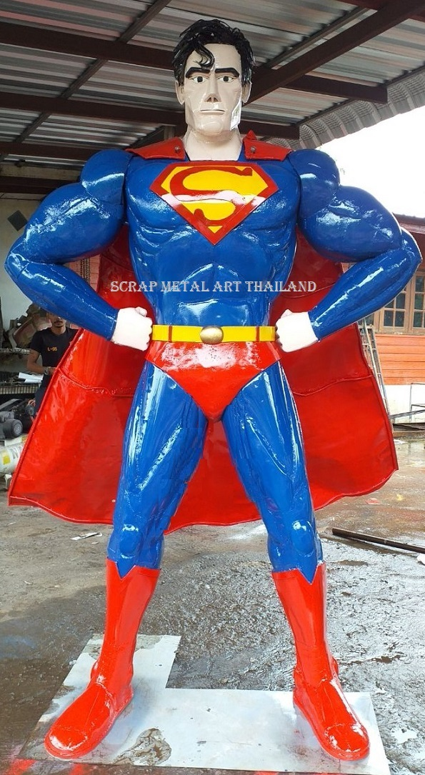 Superman statue, life size sculpture for sale, life size scrap metal superhero figure