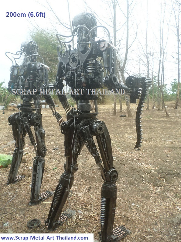 terminator t-800 t-600 figure statue sculpture replica full life size scrap metal art for sale