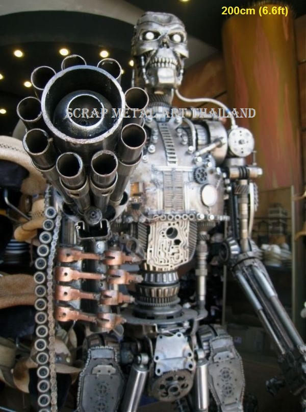 terminator t-800 t-600 figure statue sculpture replica endoskeleton full life size scrap metal art for sale