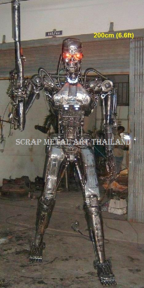 terminator t-800 t-600 figure statue sculpture replica endo skeleton full life size scrap metal art for sale
