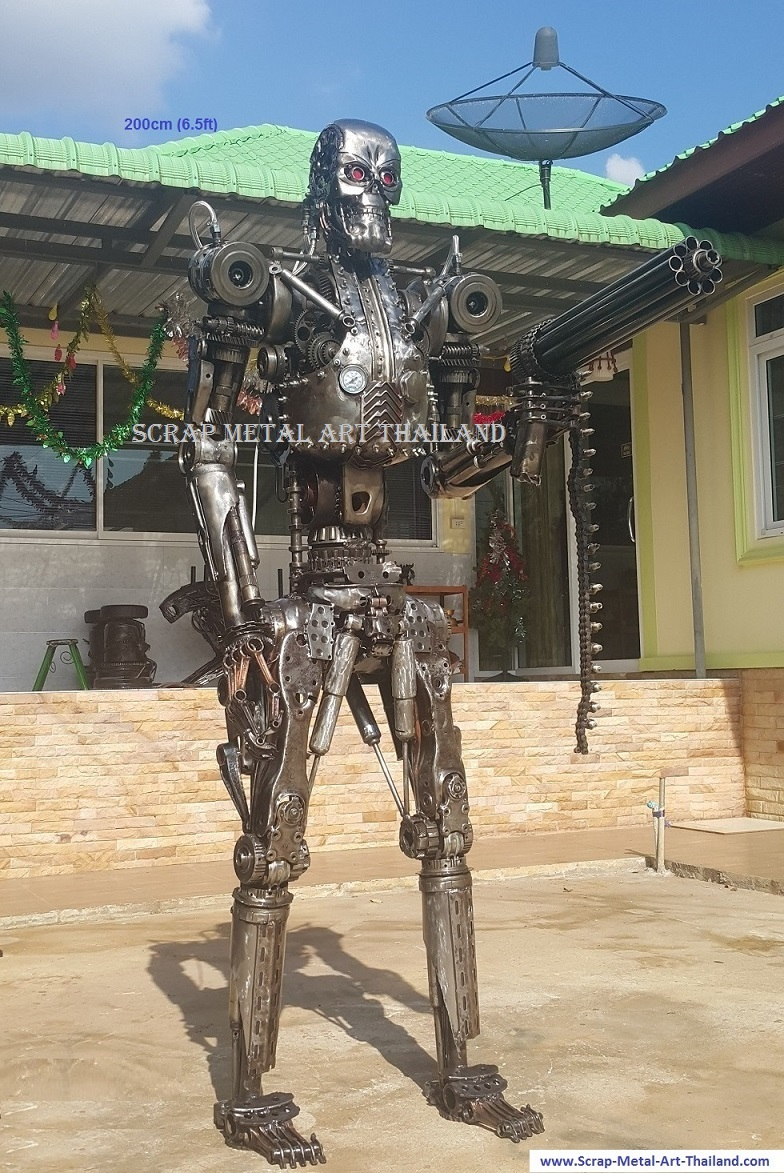 terminator statue life size scrap metal art for sale