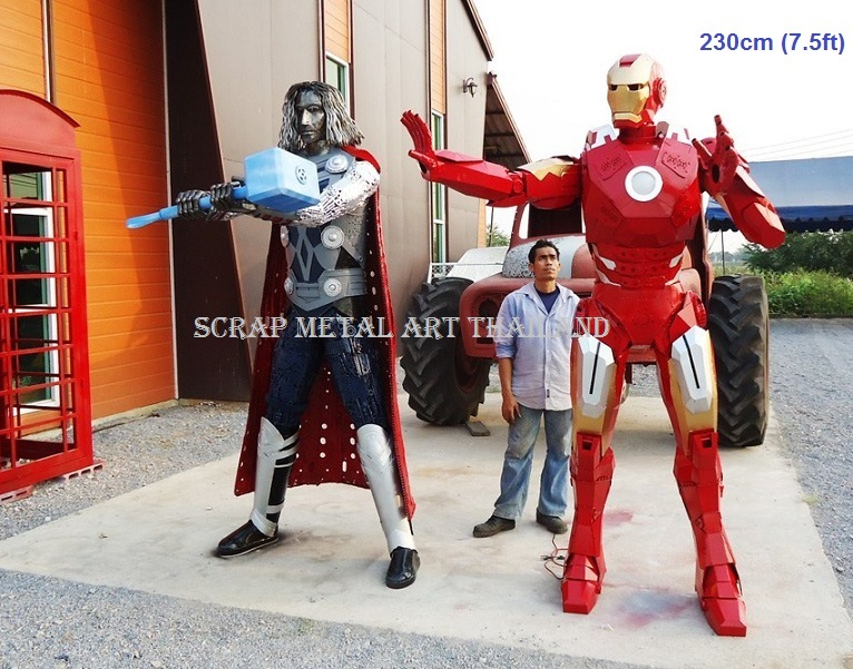 thor hammer and ironman figure statue sculpture full life size scrap metal art