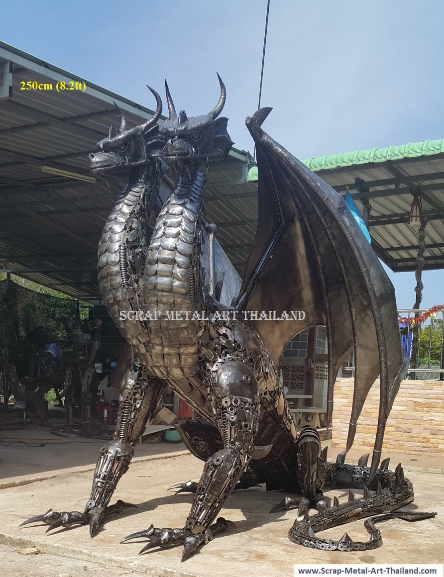 two headed dragon statue/sculpture, life size recycled scrap metal art
