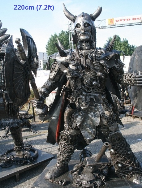 viking sculpture scrap metal art life size