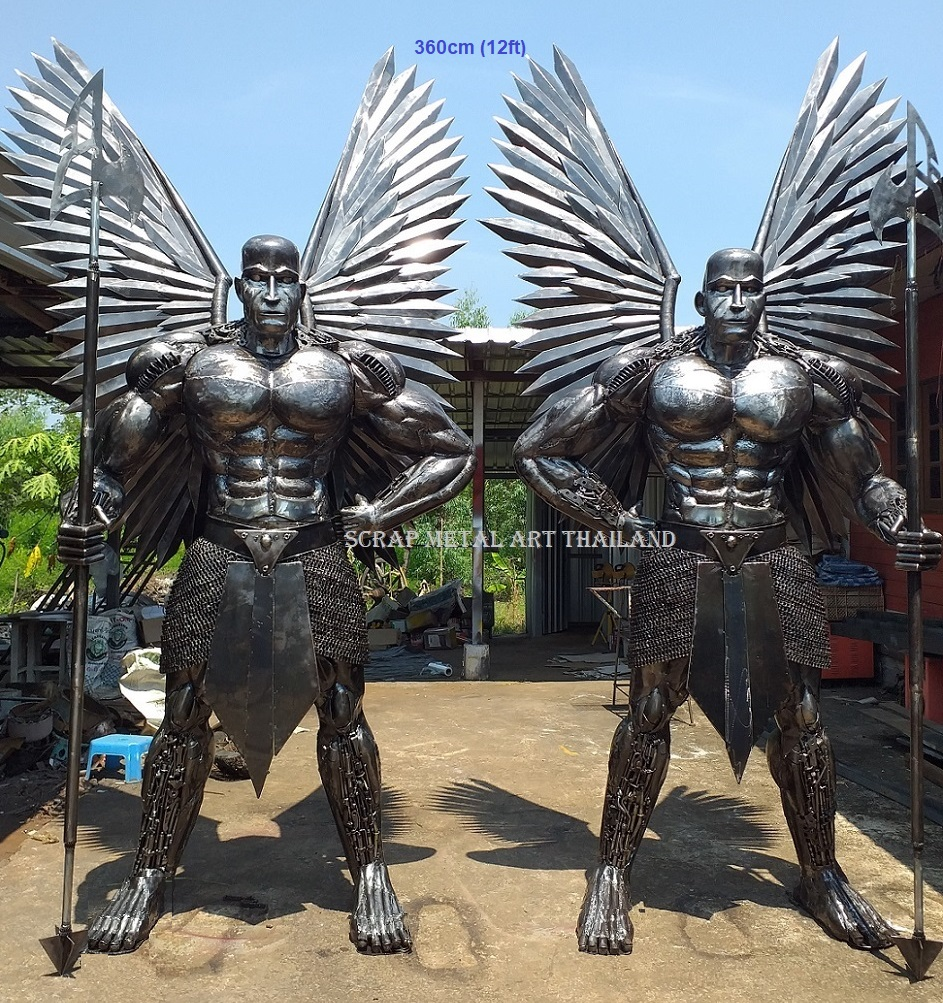 Winged guards, from mythology, life size scrap metal art from Thailand