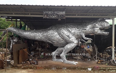 Life size metal T-Rex Dino Statue for sale, metal Dinosaur Sculpture Art