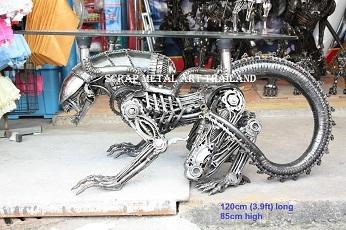 alien table furniture statue scrap metal art for sale