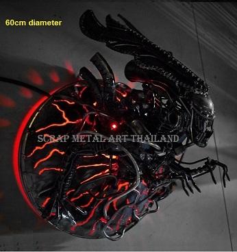 alien lamp, scrap metal art