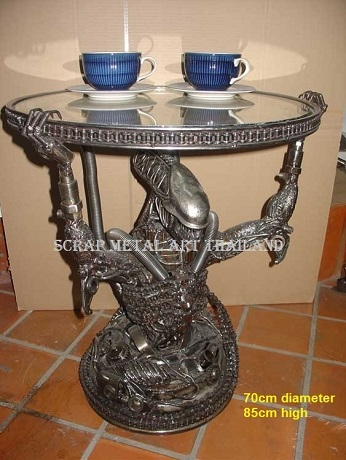 alien coffee table, scrap metal art