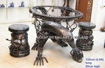 alien table with stools, scrap metal art