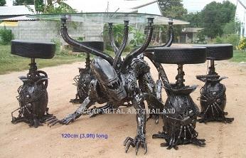 alien table furniture scrap metal art for sale
