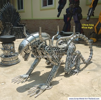 Alien table for sale, scrap metal Alien art made in Thailand