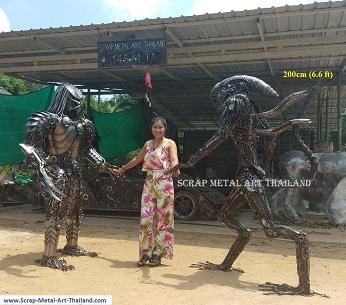 alien vs predator statues life size scrap metal art