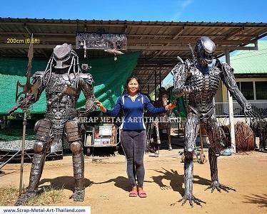 Alien vs Predator statues, lifesize scrap metal art from Thailand