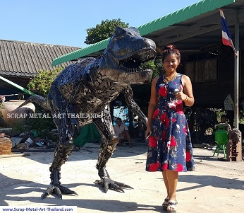 Baby Dino T-Rex Statue Sculpture for sale, Dinosaur Life Size Metal Animal Yard and Garden Art
