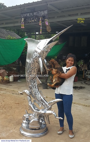 Blue Marlin Sculpture Statue for sale, Life Size Metal Animal Yard and Garden Art, from Thailand