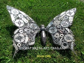 giant butterfly sculpture scrap metal art for sale