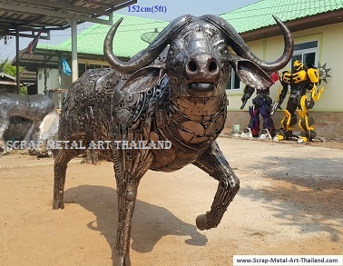 life size cape buffalo sculpture, recycled scrap metal animal art