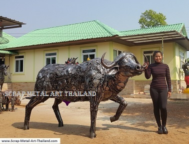 life size cape buffalo statue, recycled scrap metal animal art