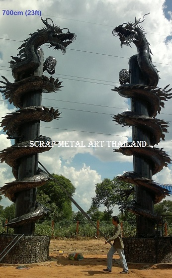 Giant chinese dragon pillar statue scrap metal art for sale