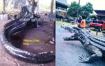 Giant crocodile sculpture, life size metal art