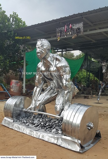 Deadlifter statue, Weightlifter Sculptures, life size scrap metal art from Thailand