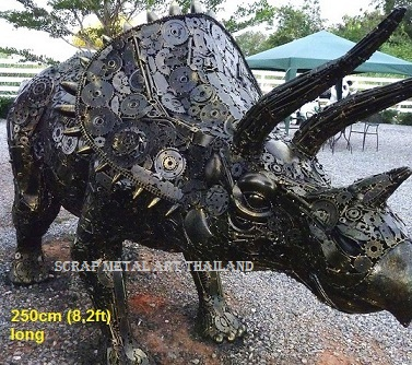 dinosaur triceratops sculpture scrap metal animal art life size