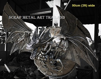 dragon lamp, scrap metal art